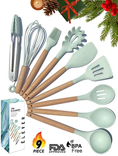 Kitchen Utensil Set - 9 Silicone Cooking Utensils for Non-stick Cookware - Wood Kitchen Utensils. BPA Free, Silicone Spatula Wooden Spoons Set Tongs. Best Chef Kitchen Gadgets Tool Set Gifts - ÉLEVER