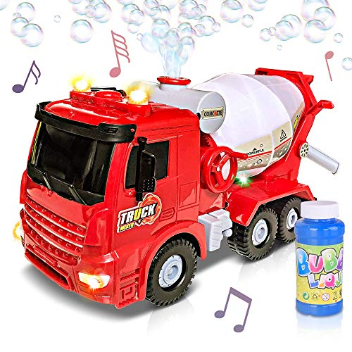 ArtCreativity Bubble Blowing Cement Truck Toy with LED and Sound Effects | 12