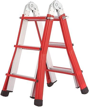 Escalera plegable de 3 escalones Escalera telescópica de aluminio Nivel de carga de 150 kg Diseño telescópico plegable y ajustable de elevación Estructura de seguridad ensanchada y engrosada: Amazon.es: Hogar
