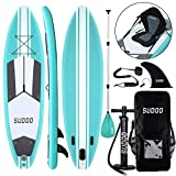 10ft / 3m Inflatable Stand Up Paddle Board | Inflatable SUP Board Beginner's Surfboard Kit w/Adjustable Paddle | Air Pump with Pressure Guage | Repair Kit | Premium Leash & Heavy Duty Carry Backpack