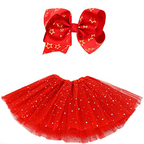 BGFKS 5 Layered Tulle Tutu Skirt for Girls with Hairbow and Hairties, Ballet Dressing Up Kid Tutu Skirt (Star-Red, 2-8 Years Old)]()