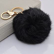 YSTD® Gold Plated Keychain with Plush Cute Genuine Rabbit Fur Ball Key Chain for Car Key Ring Cell Phone or Bags (Black)