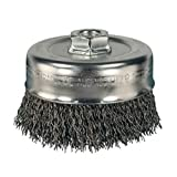 PFERD 82635 Crimped Cup Brush, Stainless Steel Wire, 4'' Diameter, 5/8-11 Thread, 0.020 Wire Size, 1-1/4'' Trim Length, 9000 RPM