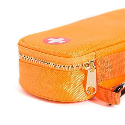 PracMedic- Epipen Carrying Case or Insulin Case - Premium Quality with YKK Zipper - fits Epi Pens, generic Benadryl, Asthma Inhaler, Nasal Spray, Eye Drops, Syringes, Vials, Ice Packs - Orange by PracMedic Bags (Image #7)