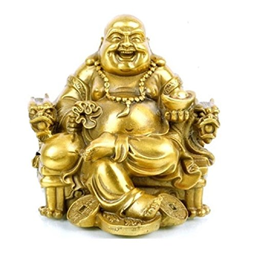 Fengshui Buddha Statue for Lucky & Happiness God of Wealth,Laughing Buddha on Emperor`s Dragon Chair,Brass Buddhist Statues and Sculptures Home Decor Congratulatory Gifts (Medium) (Gold Buddha Statue)
