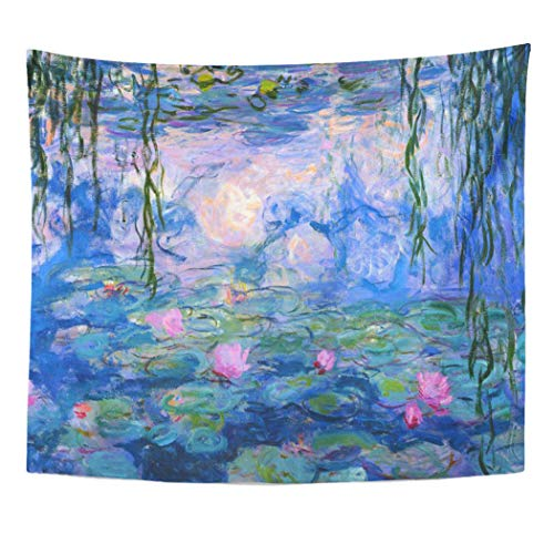 Semtomn Tapestry Artwork Wall Hanging Monet Water Lilies Claude Fine Famous Masterpieces Museum Impressionism 50x60 Inches Home Decor Tapestries Mattress Tablecloth Curtain Print