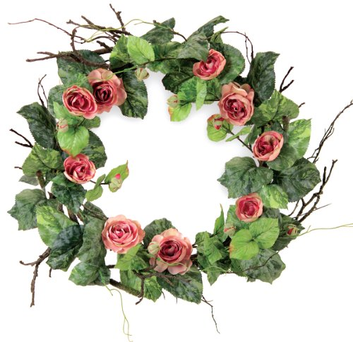 Melrose International Soft Green Leaf Wreath with Pink Ra...