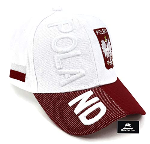 """High End Hats """"Nations of Europe Hat Collection"""" 3D Embroidered Adjustable Baseball Cap, Poland with Coat of Arms Includes 1-Year Warranty, White"""