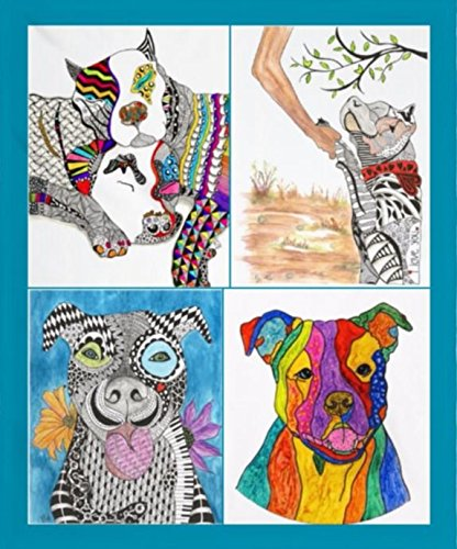 (Whimsical and Colorful Pit Bull All-Occasion Note Card and Greeting Card Assortment - 16-Pack with White Envelopes (Four Note Cards of each Design))