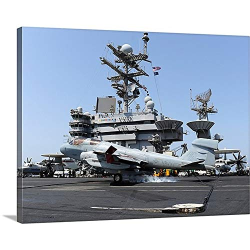 GREATBIGCANVAS Gallery-Wrapped Canvas Entitled an EA 6B Prowler Catches an Arresting Wire During Landing by Stocktrek Images 40