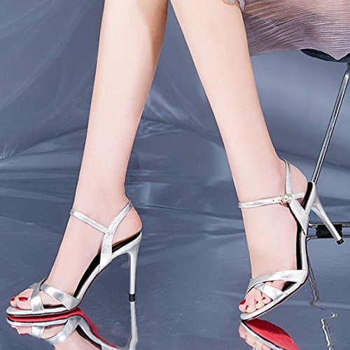silver 4 5cm Donne Pelle Mode 9 Stiletto Zanpa Sandali AY4qwF