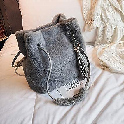 OneMoreT Sac à bandoulière d'hiver en fausse fourrure avec pampille pour femme Sacs à bandoulière gris