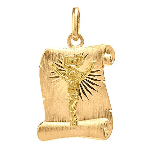 Solid 14K Yellow Gold Jesus Christ Scroll Charm Pendant