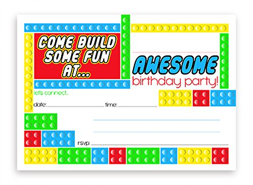 Building Block LARGE Invitations - 10 Invitations 10 -