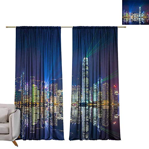 Energy Saving Harbor - berrly Energy Saving Curtains Hong Kong Skyline at Victoria Harbor. W84 x L96 Thermal Insulated Draperies