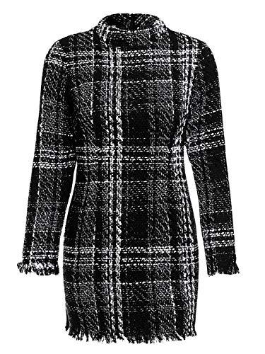 Miessial Women's Plaid Tweed Mini Dress Long Sleeve Elegant Office Tunic Dress Black 8