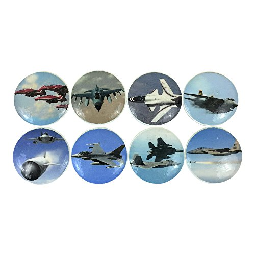 Set of 8 Fighter Plane Wood Cabinet Knobs (Knobs Plane)
