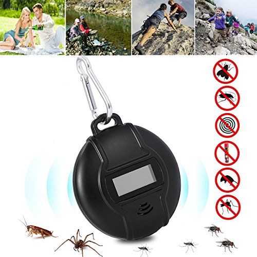 Ultrasonic Pest Repeller with Compass, Solar Powered or USB Charged, Portable Outdoor Ultrasonic Mosquito Repeller Insect Repellent for Cockroach, Spider, Ant, Mosquito, Mouse, Bed Bugs and Fleas by Sqrmekoko