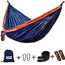 Lazy Daze Hammocks Double Parachute Nylon Hammock With Hammock Straps Set, Lightweight Portable Hammock For Camping, Backpacking, Pool, Navy Blue&Orange