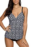 Sociala Criss Cross Back Tankini Swimsuits for Women Print Bathing Suits L
