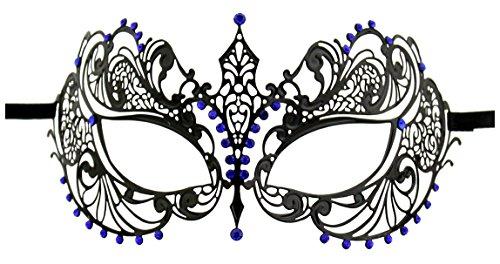 Luxury Mask Women's Laser Cut Metal Venetian Pretty Masquerade Mask, Black/Blue Stones, One -