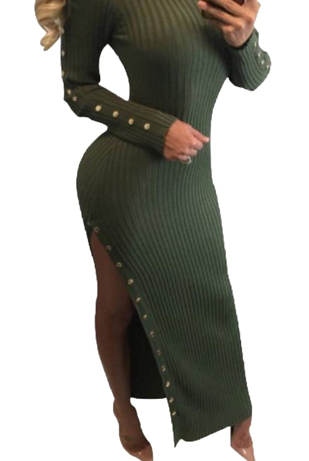 Generic Women's Long Sleeve Cut Out Knit Sexy Slim Club Party Dress Blackish Green S