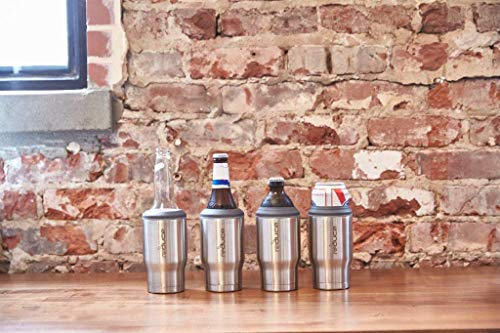 REDUCE Cold-1 Stainless Steel Can & Beer Bottle Cooler/Holder – Keeps Drinks Ice Cold – Double Wall Vacuum Insulated, Travels Anywhere, Sweat-Free Design, Fits 12oz Cans/Glass Bottles - Stainless by REDUCE (Image #6)
