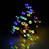 Ruichen Solar String Lights, 100 LED Outdoor Solar Powered Waterproof Fairy Lights on 33Ft Green Wire Decorative Starry Lights for Halloween, Wedding,Garden, Home, Party,etc(Multicolor)