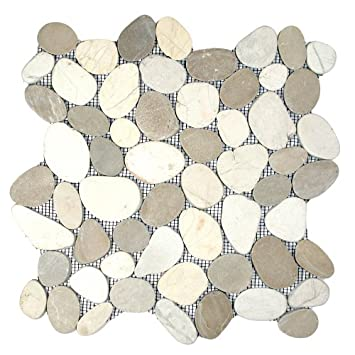 Amazing Sliced Java Tan And White Pebble Tile Sample