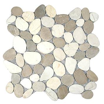 Delightful Sliced Java Tan And White Pebble Tile Sample
