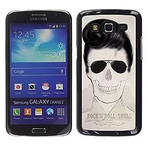Ihec Tech Elvis Rock And Roll Cráneo Texto Música / Funda Case back Cover guard / for Samsung Galaxy Grand 2