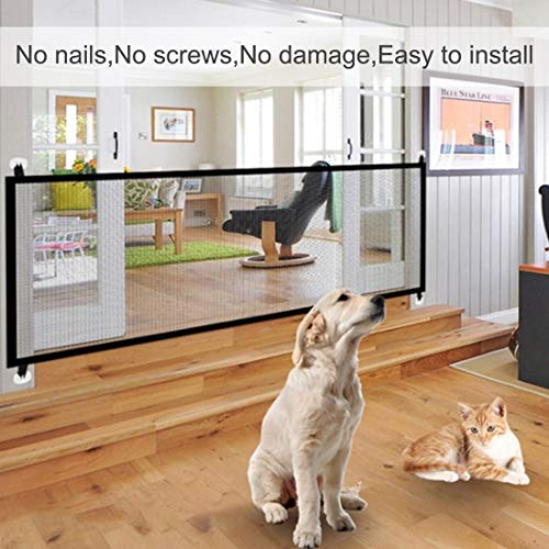 70.9''x28.3''Magic Gate for Dogs, Pet Gate,Magic Gate Portable Folding mesh gate Safe Guard Isolated Gauze Indoor and Outdoor Safety Gate Install Anywhere for Dogs by kensonic (Image #3)