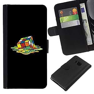 WINCASE ( NO PARA HTC ONE MINI M4) Cuadro Funda Voltear Cuero Ranura Tarjetas TPU Carcasas Protectora Cover Case Para HTC One M7 - arte cubo rubiks colorido de fusión cuadrado