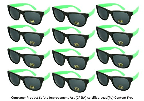 Edge I-Wear 12 Pack Neon Party Sunglasses with CPSIA Certified Lead (Pb) Content Free and UV 400 Lens 5402R/GN-12 (Made in - Glasses I Green