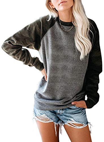 JomeDesign Womens Long Sleeve Camouflage Print Pullover Crewneck Sweatshirt Casual Tops Raglan Shirt Gray ()