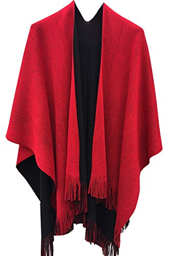 Timemory Womens Winter Solid Knitted Cashmere Poncho Capes Shawl Sweater Red Red One Size -