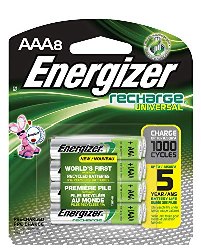 Energizer Rechargeable AAA Batteries, 700 mAh NiMH, Pre-charged, Chargeable for 1,000 Cycles, 8 Count ()