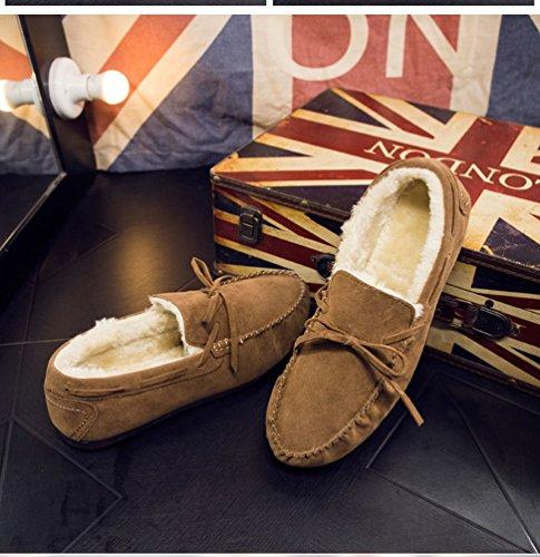 Tan Zapatos Casual Invierno Botas Nieve Calentar Barco Zapatos Planos Hombre Loafer Forrado Dooxi Mocassin Antideslizante de Bowknot xWw0qa5RY