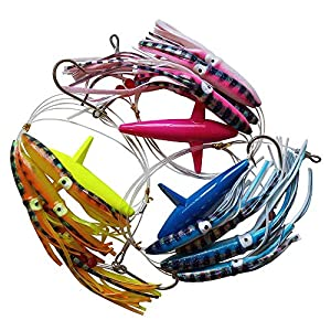 Krazywolf Fully Rigged Big Game Daisy Bird Trolling Chain Boat Fishing Squid Lure Rig Teaser,Pack of 3