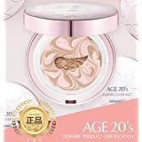 Age 20's Compact Foundation Premium Makeup, + 1 Extra Refill - Pink Latte Essence Cover Pact SPF50+ (Made in Korea) - Pink / Nude Beige (Color 21)