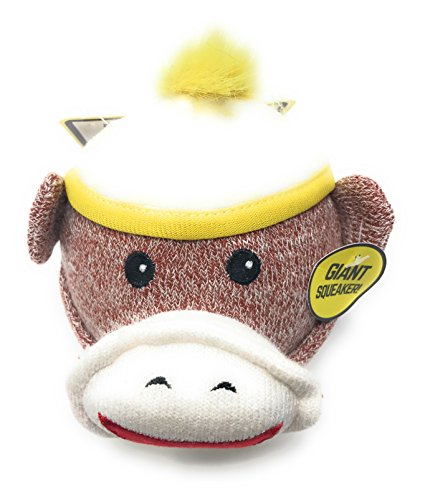 Sock Monkey Giant Squeaker Head 4 Inches Tall and Round with a Giant Smile (Yellow)