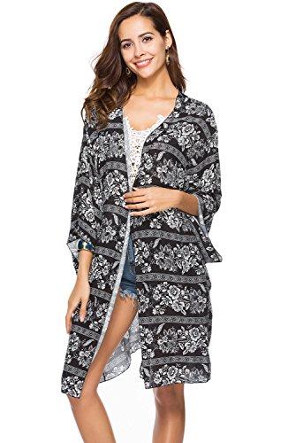 CHERRY CAT Womens V-Neck Cut Loose Bathing Suit Swimsuit Cover Ups Beach Dress (US 6-14) (Z-Sales Black, One Size) ()