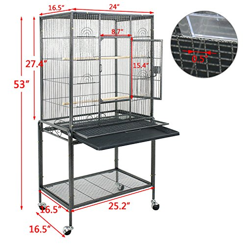 SUPER DEAL 53''/59.3''/63.5'' Rolling Bird Cage Large Wrought Iron Cage for Cockatiel Sun Conure Parakeet Finch Budgie Lovebird Canary Medium Pet House with Rolling Stand & Storage Shelf