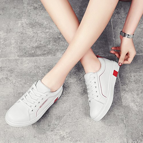 Shoes 39 green White mujer mujer para Spring Female White Zapatos Red Flat White Color HWF Sports Zapatos individuales Tamaño Casual Zapatos Student Plate de wBXx1EHq