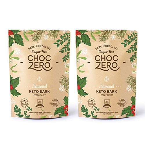 ChocZero's Dark Chocolate Peppermint Keto Bark. Sugar Free, Low Carb. No Sugar Alcohols. (2 bags, 12 individual Wrapped…