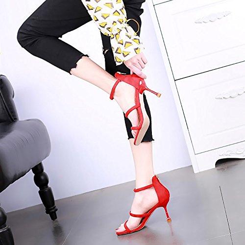 donna 红色 YMFIE punta cerniera da tacco tacco a alto a Tacchi con aperta e spillo alto 4qZ64U