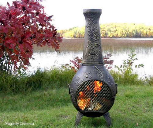 The Blue Rooster Co. Dragonfly Style Cast Aluminum Wood Burning Chiminea in Gold - Screen Fireplace Aluminum Cast Gold