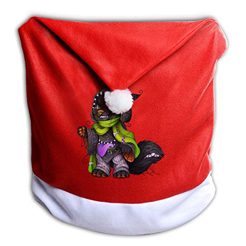 FUNMAX Halloween Wizard Animated Wolf Non-Woven Xmas Christmas Themed Dinner Chair Cap Hat Covers Set Ornaments Backers Protector for Seat Slipcovers Wraps Coverings Decorations -