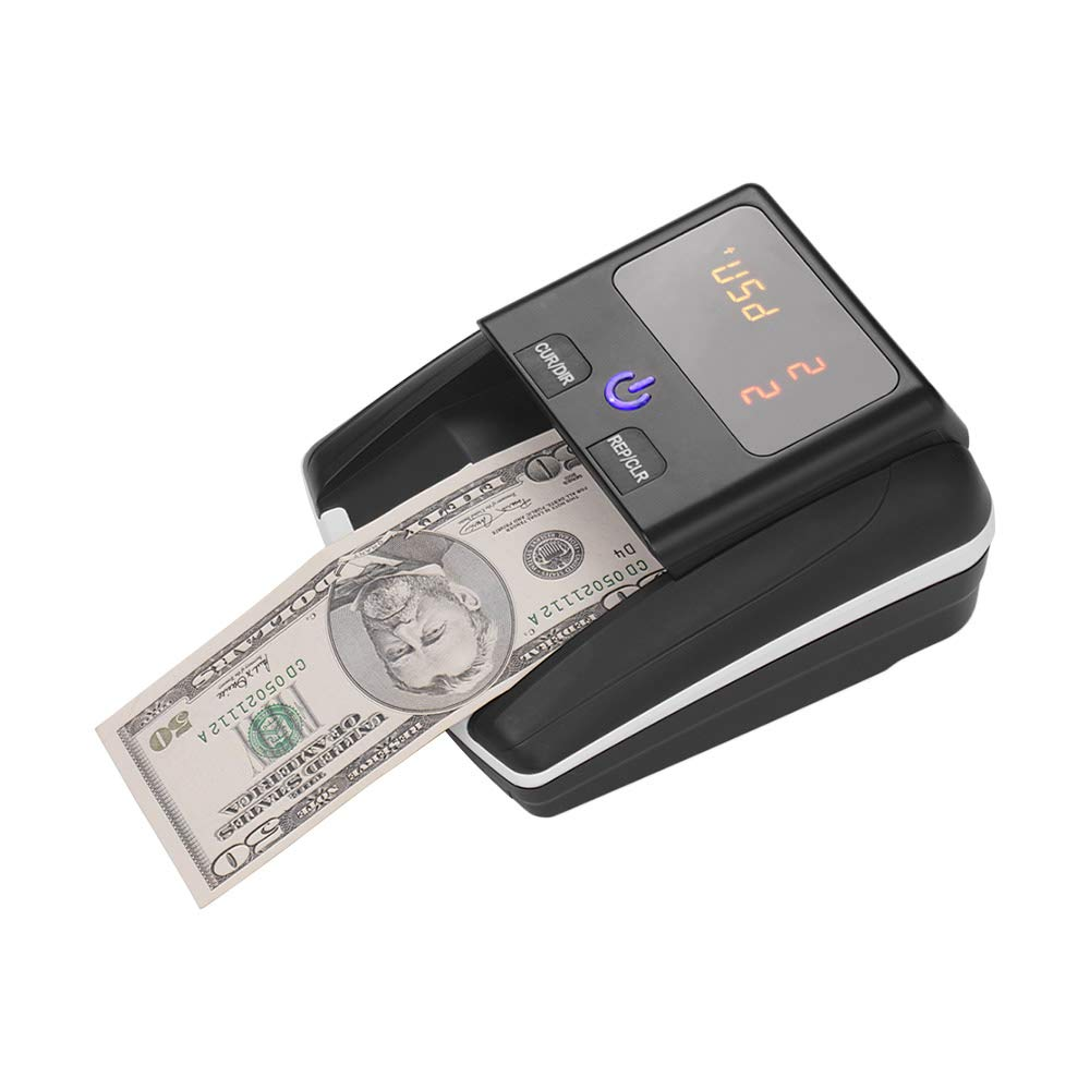 Aibecy Portable Small Banknote Bill Detector Denomination Value Counter UV/MG/IR Detection with Battery Counterfeit Fake Money Currency Cash Checker Tester Machine for USD Euro