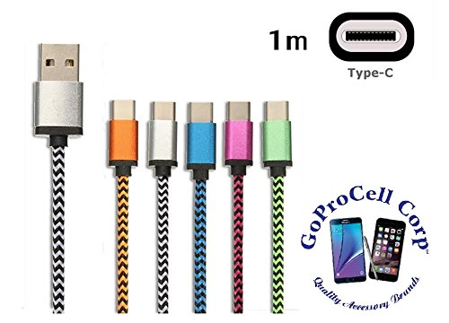 GOPROCELL (TM) PACK OF 5 Rope Braided LUXURY USB 3.1 Type-C Data Sync Charger Charging Cable FOR LG G5 / ZMAX PRO 5 COLORS NOKIA N1 TABLET ZTE ZMAX PRO LG V20